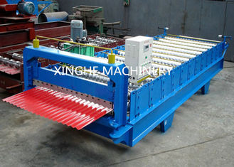 ประเทศจีน Industrial Glazed Tile Roll Forming Machine With Hydraulic Decoiler Machine  ผู้ผลิต