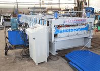 ประเทศจีน PLC Automatic Zinc Roofing Roll Forming Machine / Corrugated Roof Sheet Making Machine โรงงาน