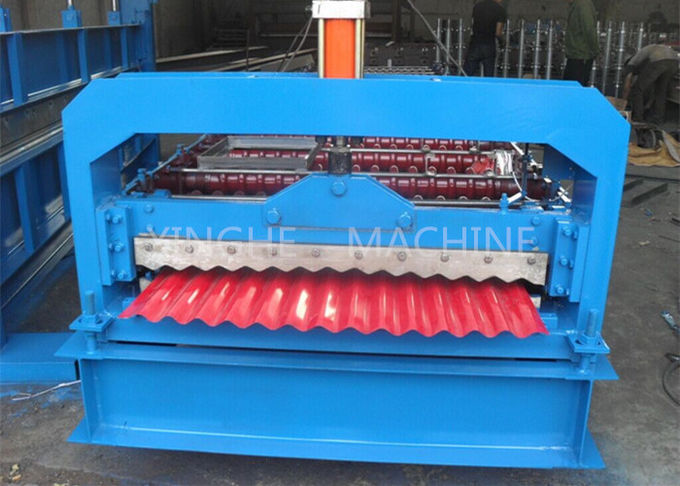 Colored Steel Roof Tile Roll Forming Machine , Cold Roll Forming Machines